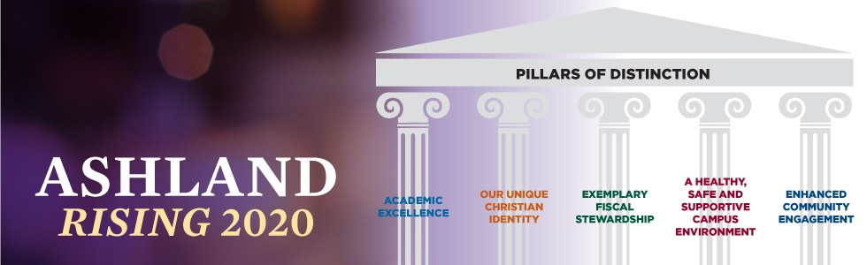Ashland Rising 2020 banner with Pillars of Distinction