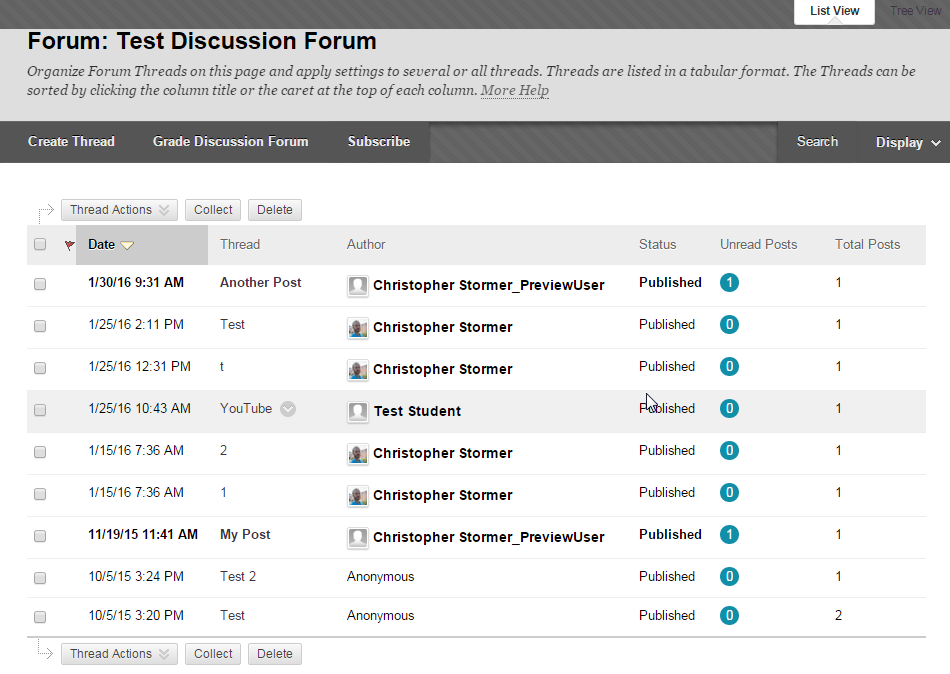 Default Discussion Board View