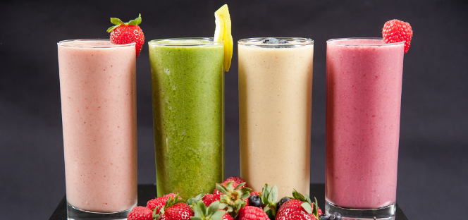Photo of smoothies and fruit for the Ashland University Catering & Conferences department.
