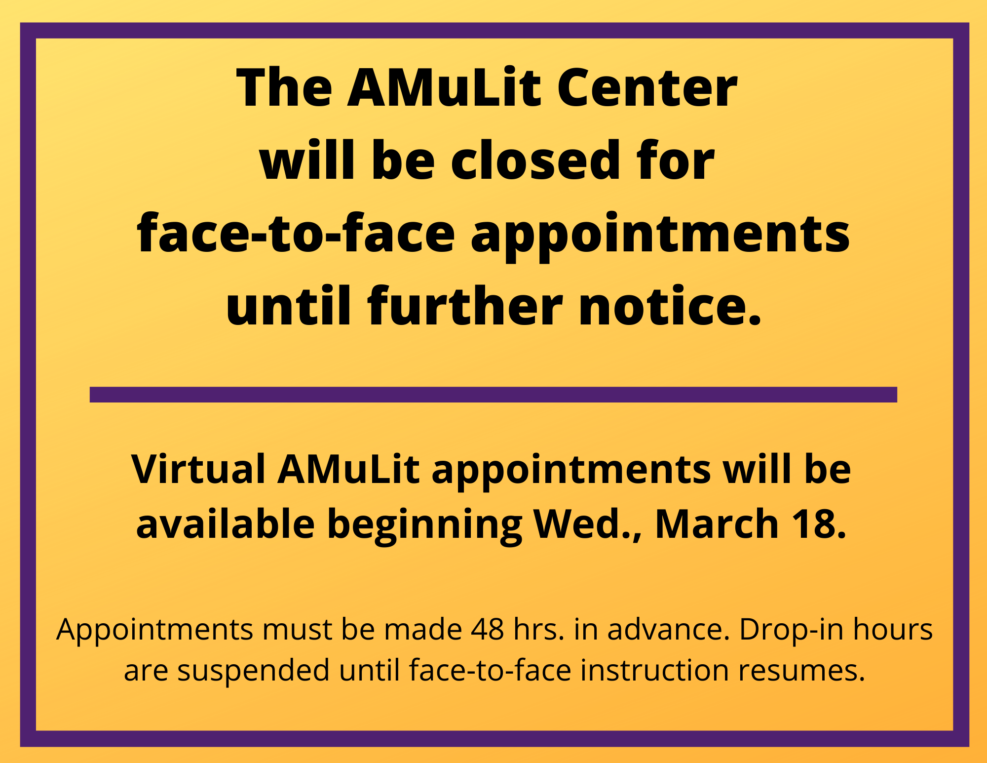 Virtual AMuLit appointments will be available beginning Wed., March 18.  All appointments must be made 48 hrs in advance.