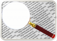 Magnifying Glass over the word Search