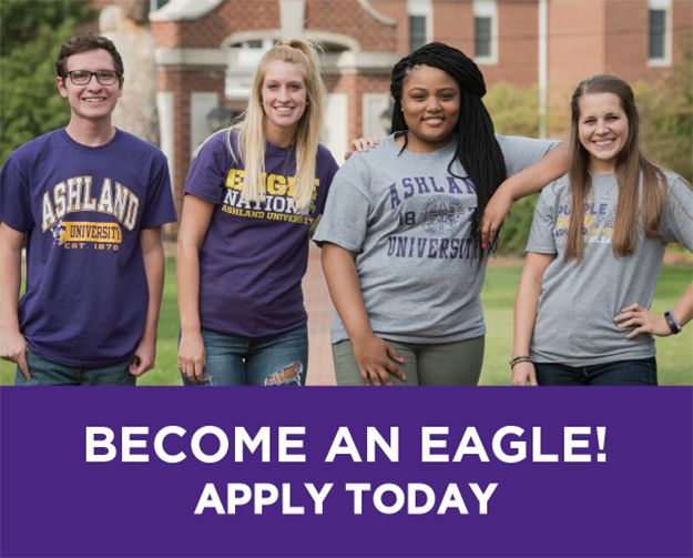 Group of students in Ashland University shirts