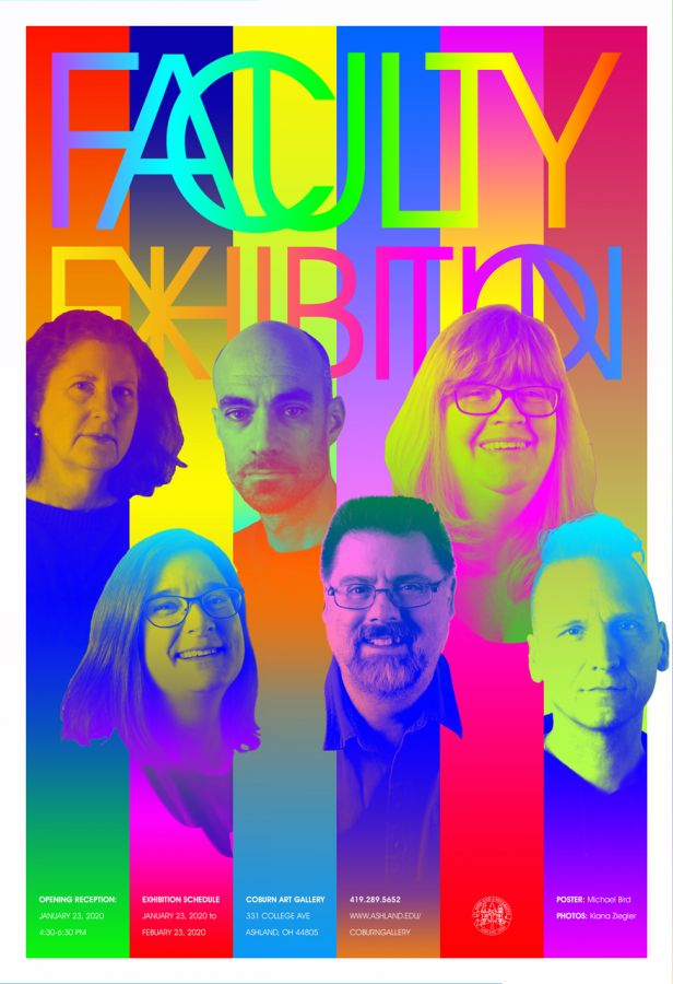 2020 Ashland University Faculty Art + Design Exhibition poster