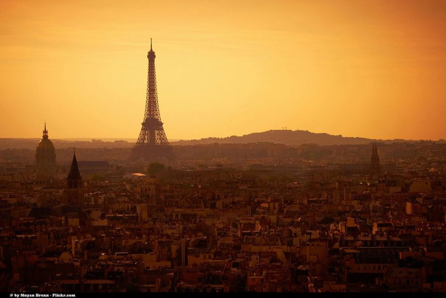Photo of Paris, France with Eiffel Tower at sunset