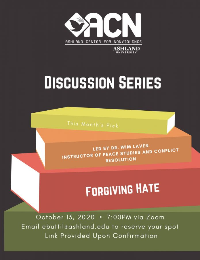 ACN Discussion series poster of a stack of books