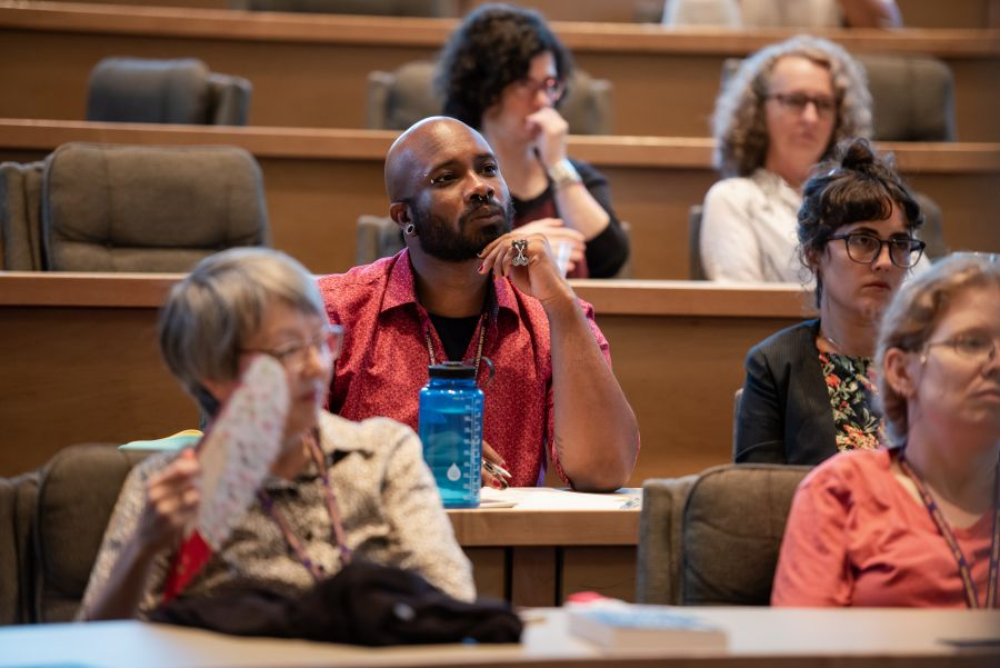 Students in lecture hall during the Summer Reading Series