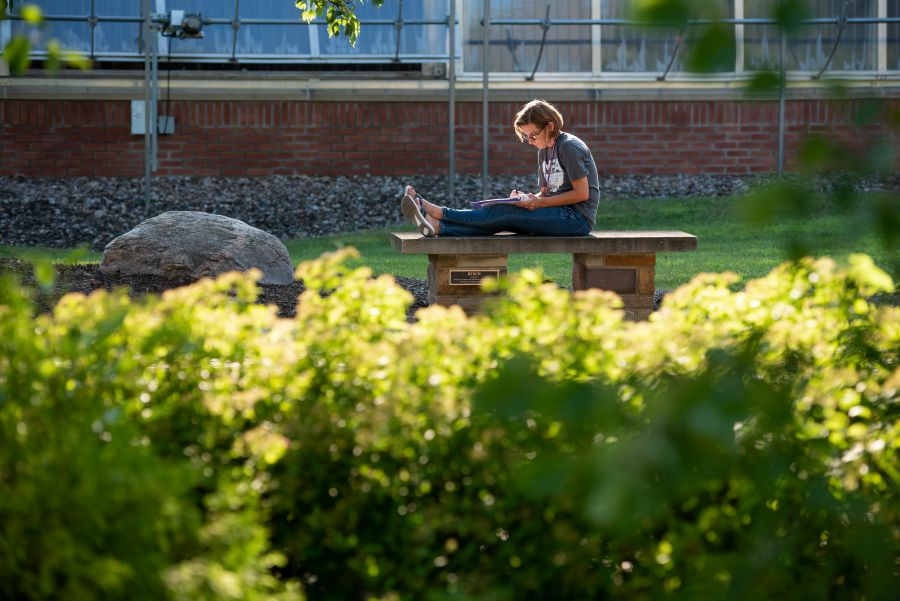 MFA student working outside on her writing during the summer residence