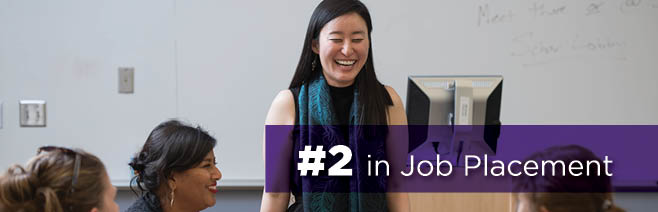 Number 2 in Job Placement - Student Standing in class laughing