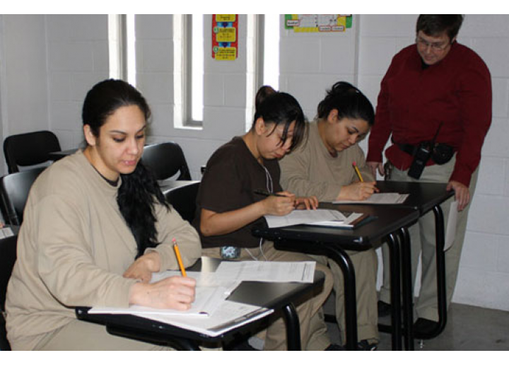 Female inmates in classroom