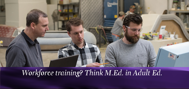 Three men work in an industrial setting on training.