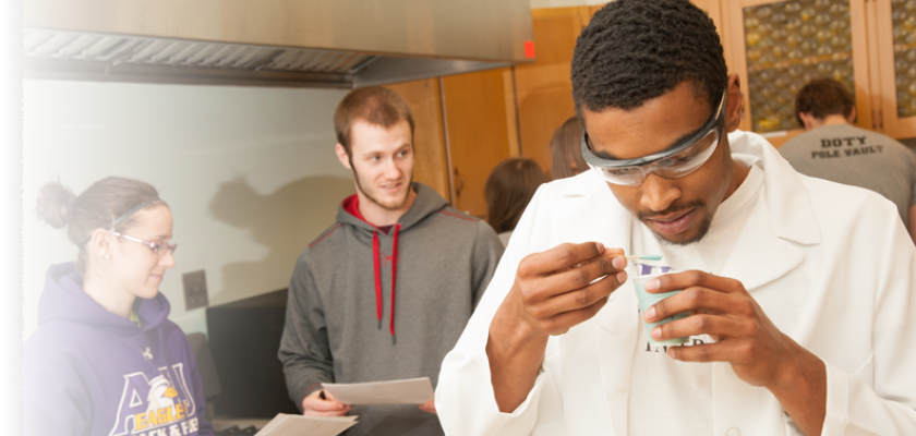 student participating in lab