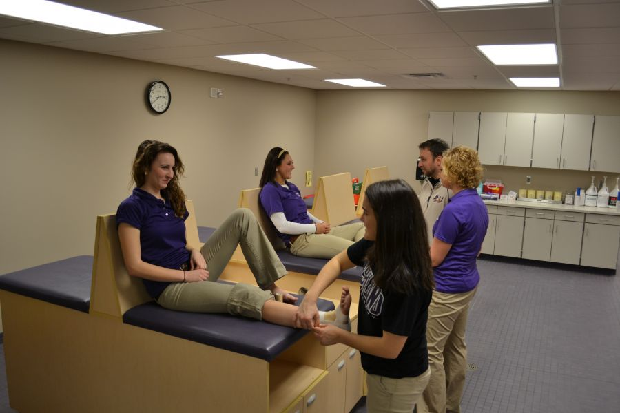 Students practice wrapping ankles in Athletic Training