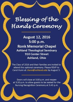 Blessing of the Hands Ceremony