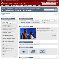 Occupational Outlook website screenshot