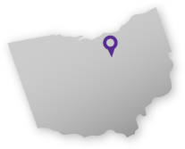 Map of Ohio, with Ashland indicated by a pin.