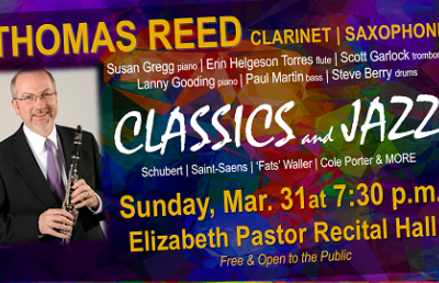 Reed to Perform Concert of Classics and Jazz on March 31
