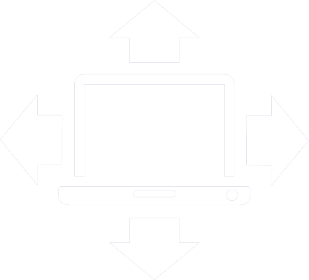 icon of a laptop with an arrow pointing away from it on each side