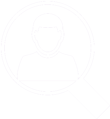 icon of a silhouette of a guy inside a magnifying glass