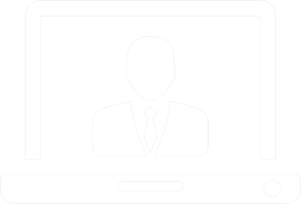 Icon of computer with a guy in a suit on the screen
