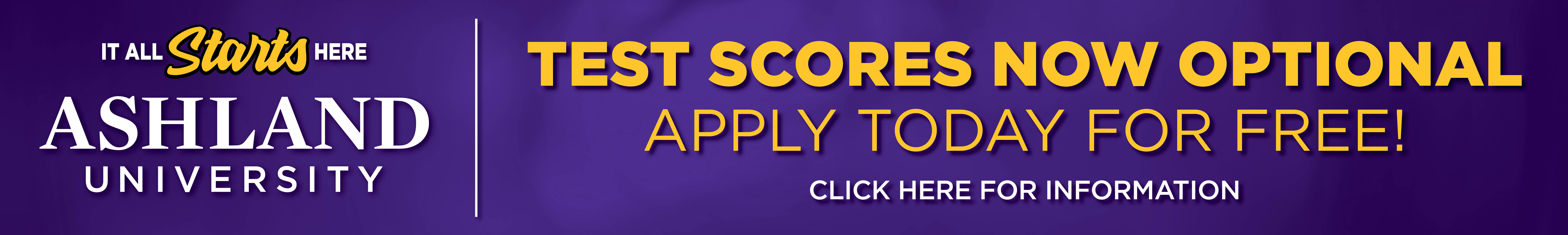 Test scores now optional. Apply today for free!