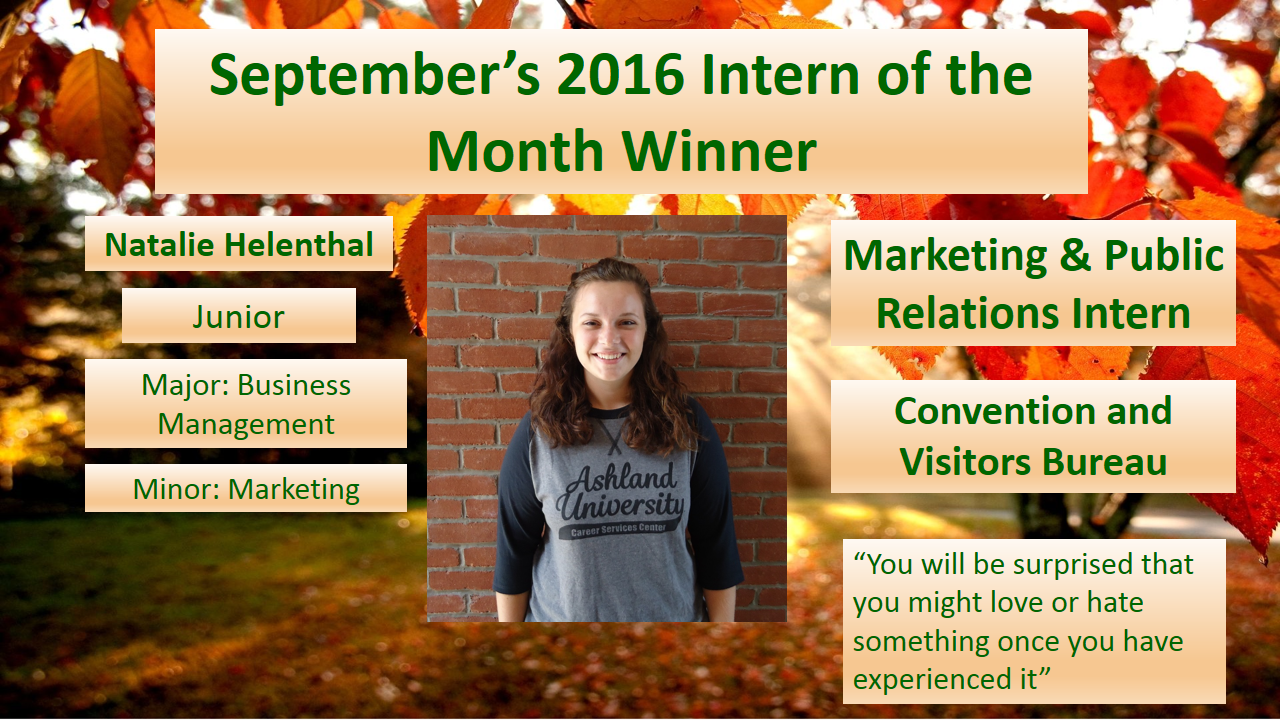 Natalie Helenthal - September 2016 Intern of the Month