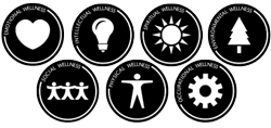 Example of the black & white versions of the wellness logos (emotional, intellectual, spiritual, environmental, social, physical and occupational)