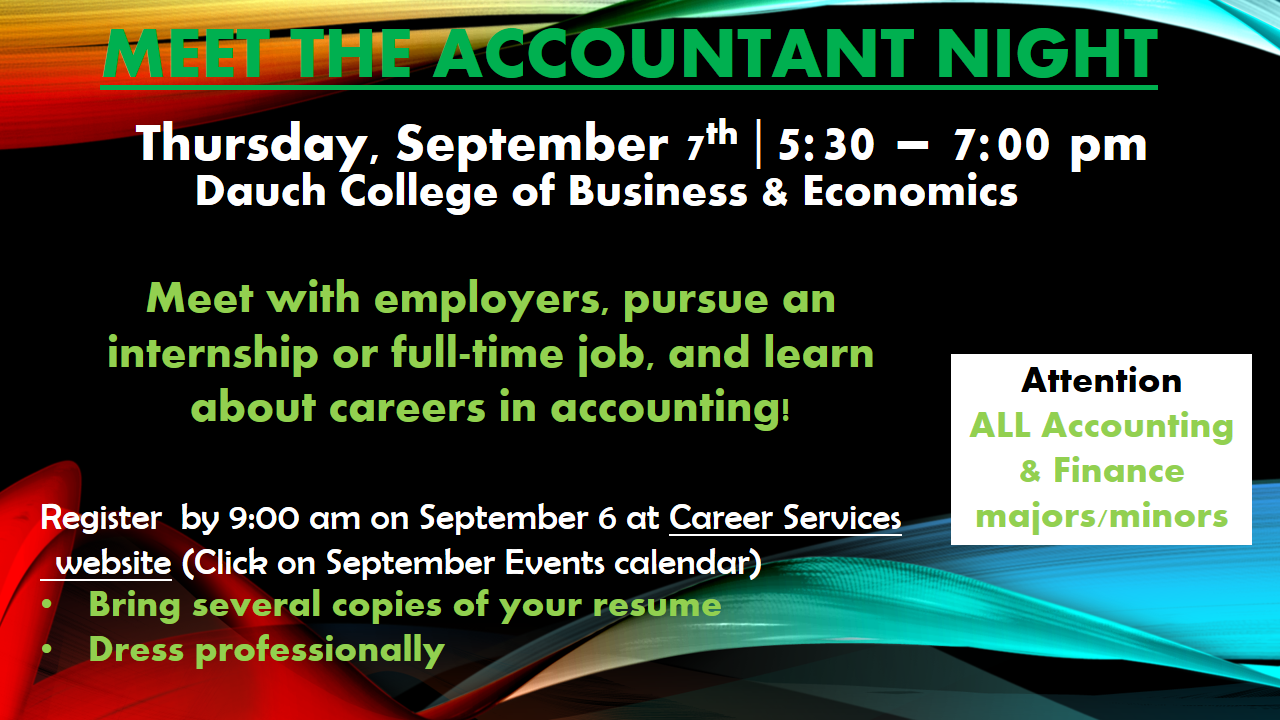 Fall 2017 Meet the Accountant Night Graphic