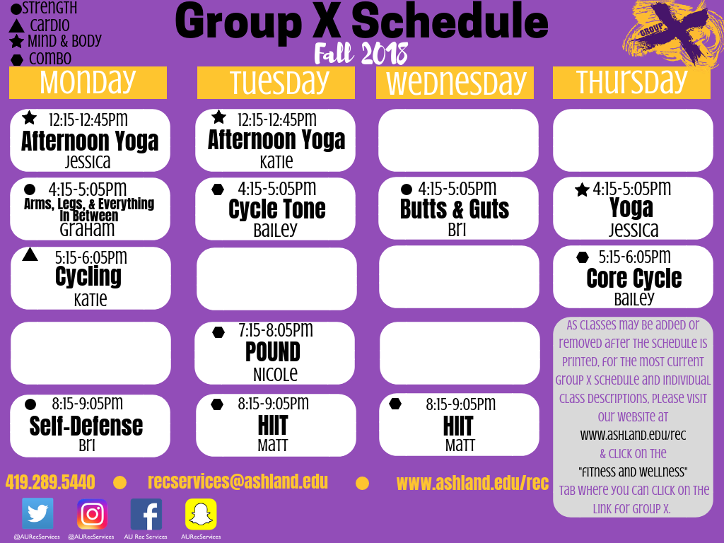 Group X Fall Schedule