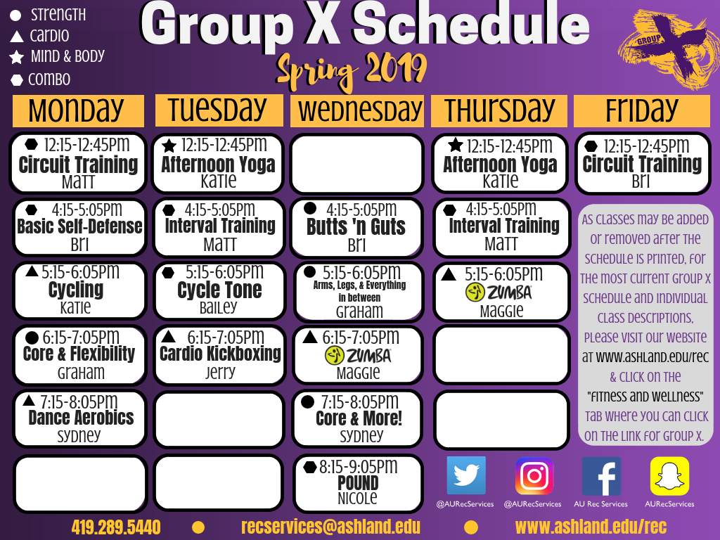 Spring Group X Schedule