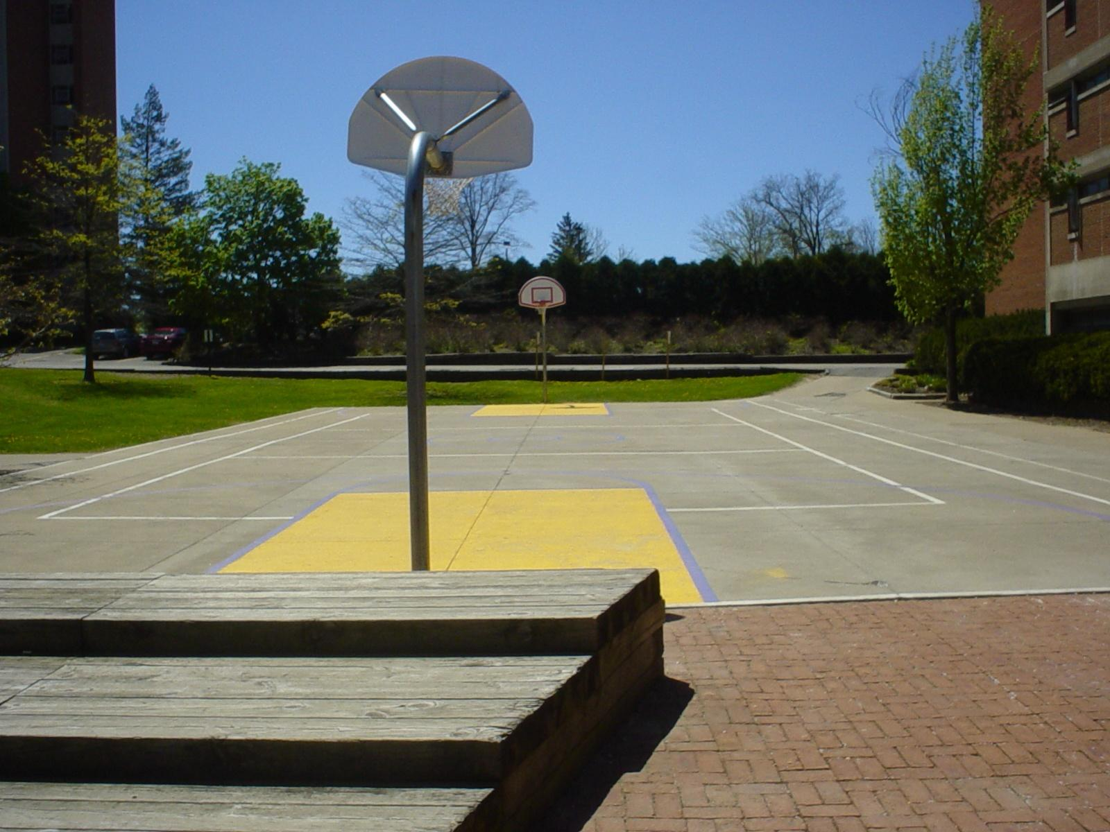 Basketball court next to Kilhefner Hall.