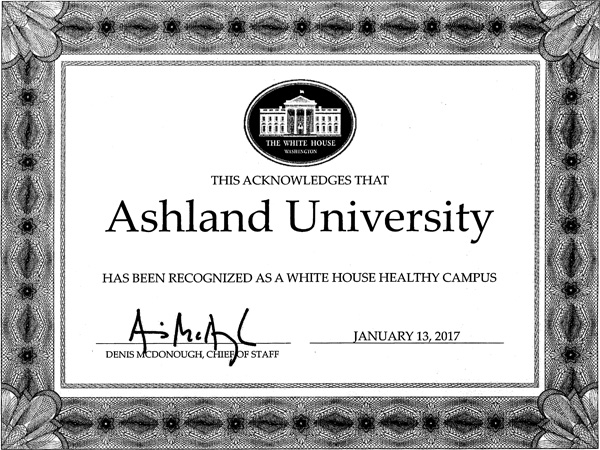 White House Healthy Campus certificate