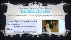 Rachel Adalem, December 2013 Intern of the Month