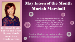 Mariah Marshall - May 2014 Intern of the Month